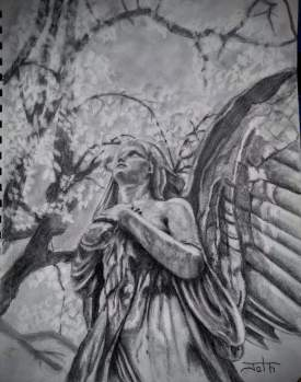 Angel sculpture drawing #3
