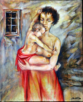 young mother -painting