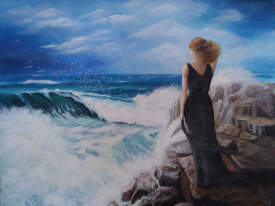 Woman and rough sea