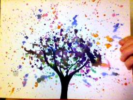splattered tree