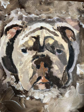 Impressionist Blue, the English bulldog