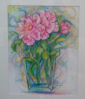 pink poises in pastel