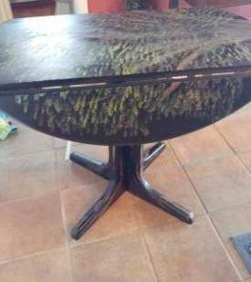 Black drop leaf Tree Table- pic 2