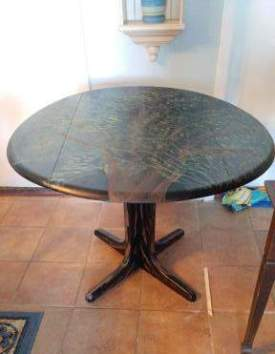 Black drop leaf Tree Table