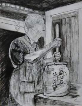 Grandma Churning Butter
