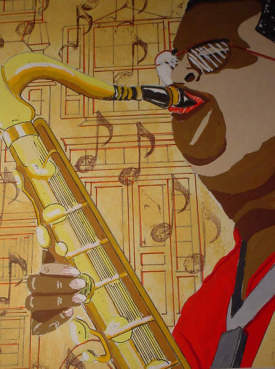 JAZZ ART -SAXMAN WITH BACKGROUND NOTES