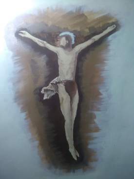 Crucifixion painted sketch