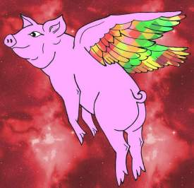 Rainbow wings flying pig
