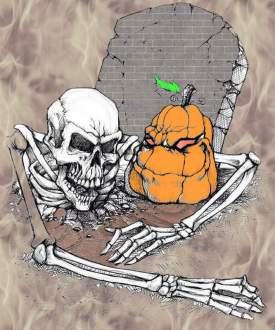 Skelton and evil pumpkin