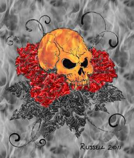 Flaming skulls and roses
