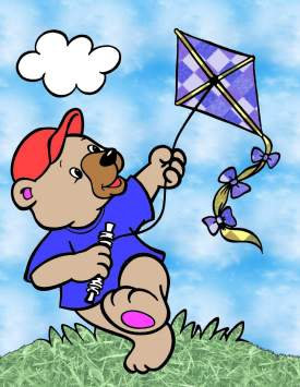 Bear flying kite
