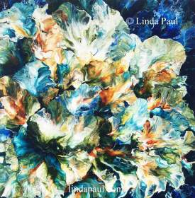 Ocean of Petals - Blue Abstract Art Original Painting by artist Linda Paul