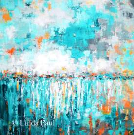 Turquoise reflections abstract ocean art painting on canvas by Linda Paul