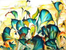 Wild at Heart, Abstract Flower original painting in Turquoise and Golf by Linda Paul