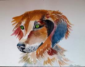 Watercolor Colorful Dog