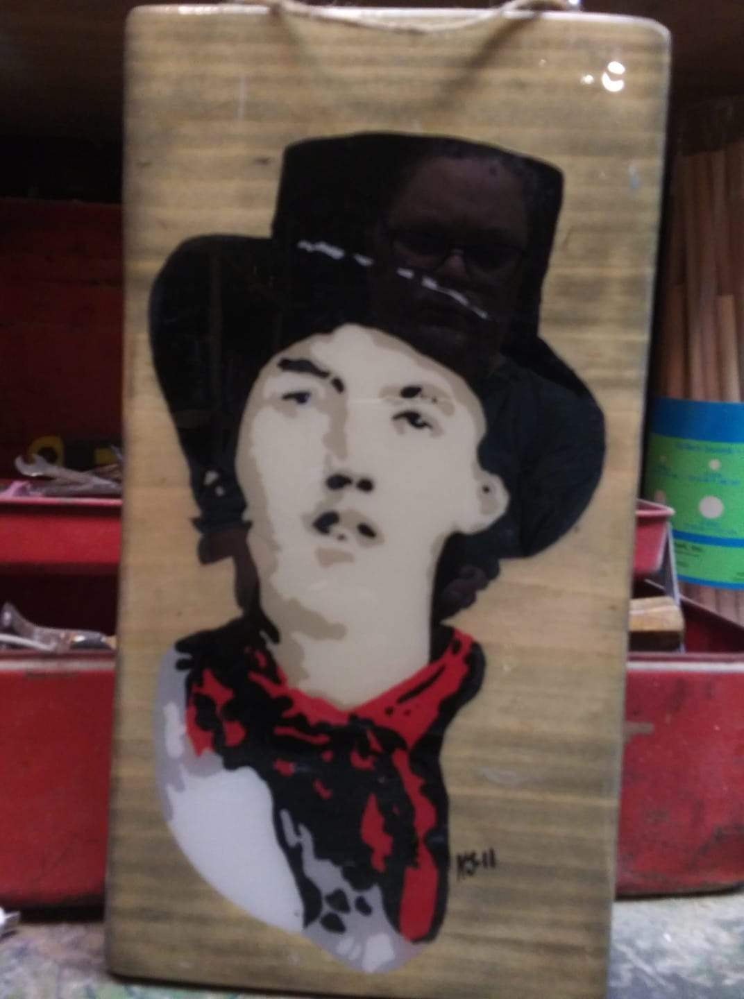 Billy the Kid Acrylics on Wood Hand painted Pop Art Infamous Series Collection