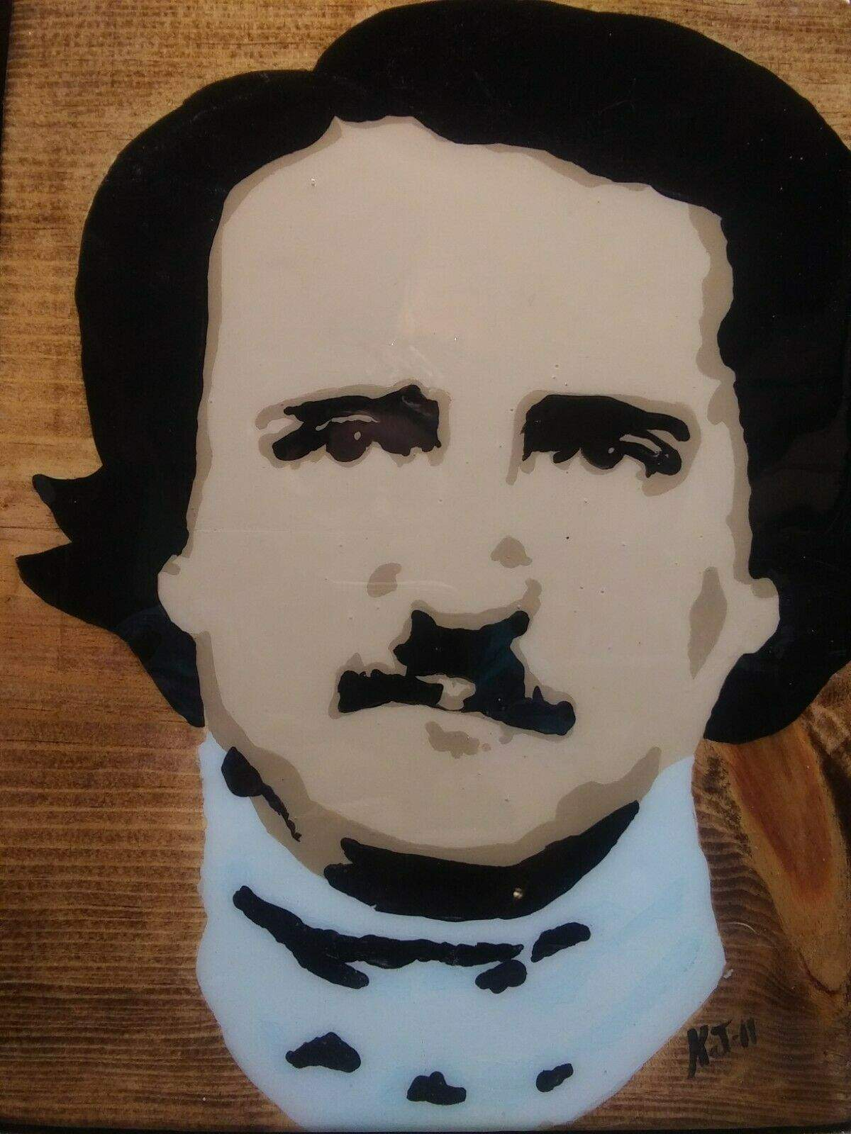 Edgar Allen Poe Acrylics on Wood Hand painted Pop Art Infamous Series Collection