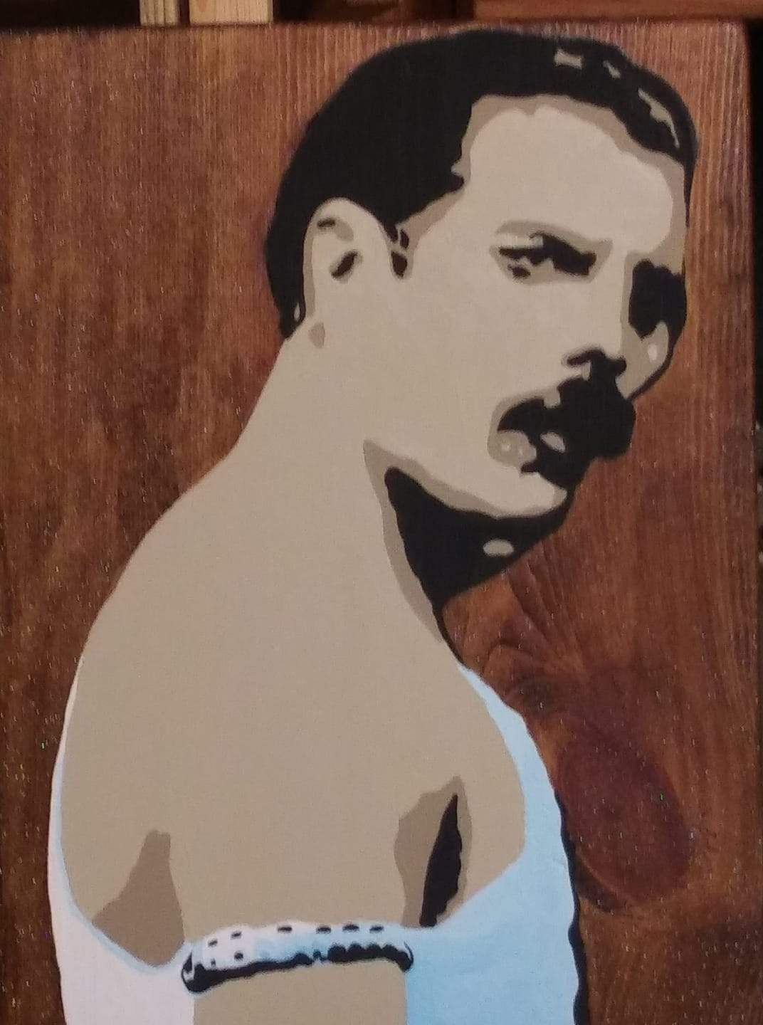 Freddie Mercury Acrylics on Wood Hand painted Pop Art