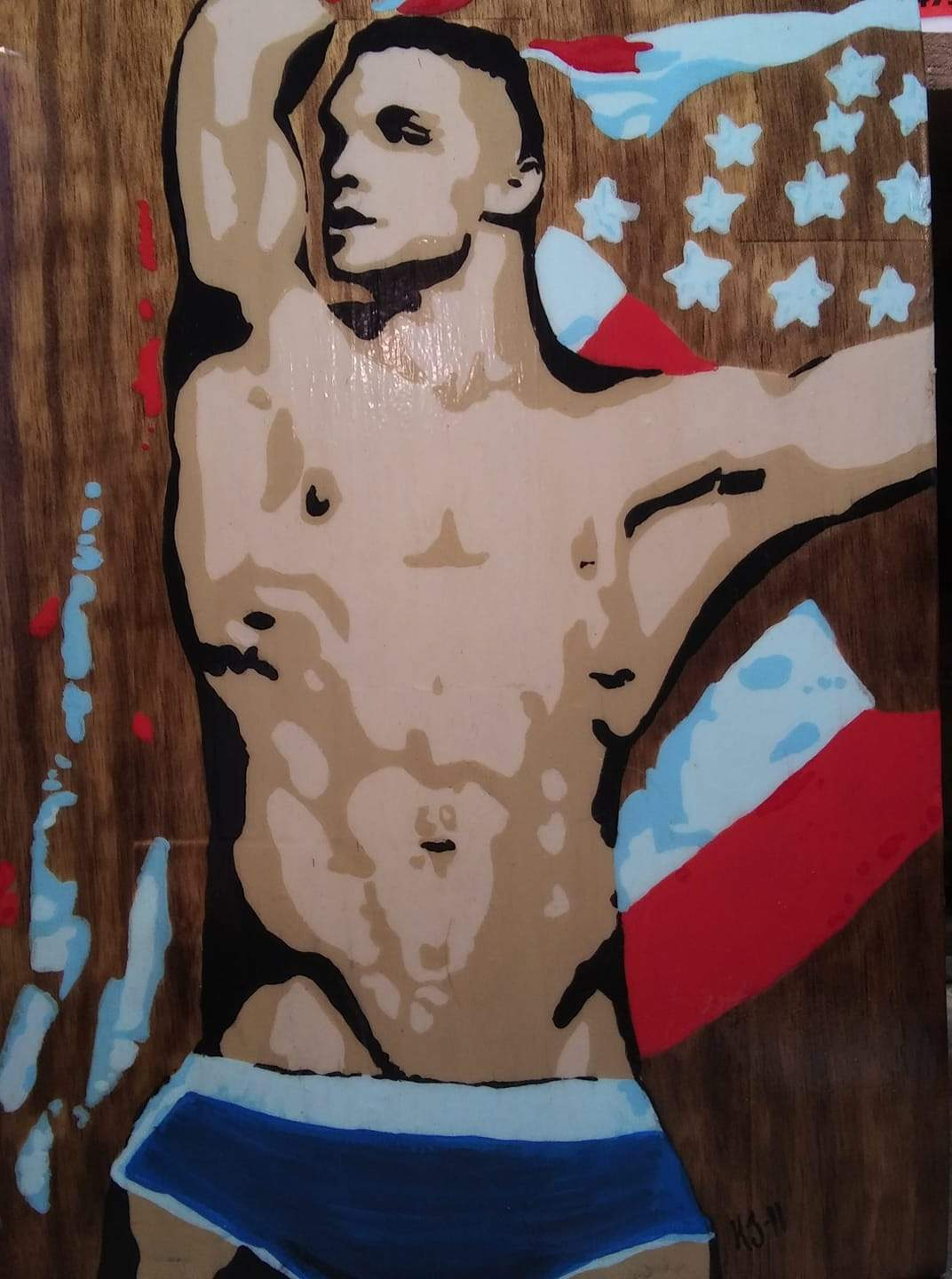 One for the Team Acrylics on Wood Hand painted LGBT Nude Gay Pop Art