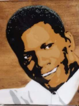Sidney Poitier Acrylics on Wood Hand painted Pop Art