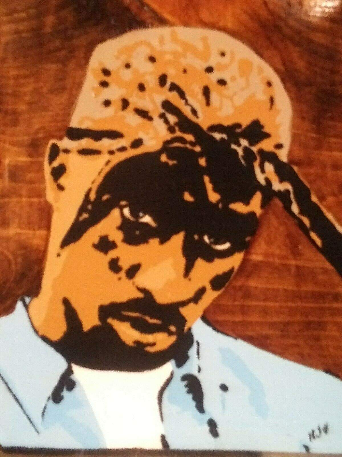 Tupac Acrylics on Wood Hand painted Pop Art